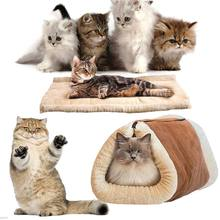 New 2-in-1 Pet Bed Snooze Tunnel Mat Winter Warm Cats Dogs Blanket Kennel Crate Cage Shack House HG99(China)