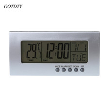OOTDTY Calendar Alarm Clock Date Temperature Display Weather Coverage Foldable Mini Desk Digital LCD Thermometer Countdown Timer