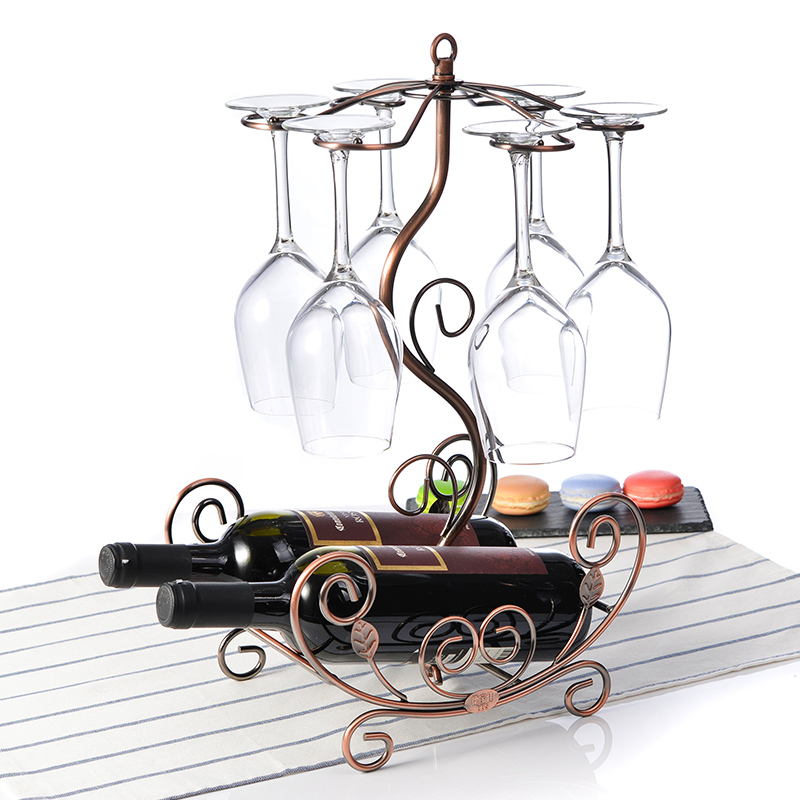 European style wine glass rack hanging bottles metal racks wine bottles glass organizers home decorations<br>