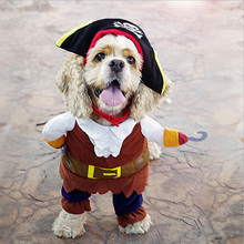 2016 newest  Pet Apparel Caribbean Pirate Dog Costume Corsair Dressing Up Party Clothes for Dogs plus Hat IC874285