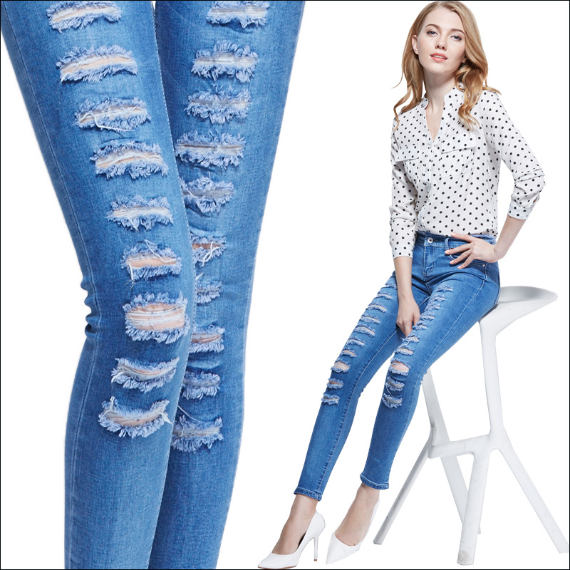 New European style womens broken hole jeans ripped jeans high waist jeans 2017 new fashion women jeansОдежда и ак�е��уары<br><br><br>Aliexpress
