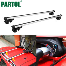 Partol 2x Universal Car Roof Rack Cross Bars Roof Luggage Carrier With Anti-thief Lock + Key For cargo basket carrier snowboard(China)