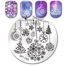 BORN PRETTY Round Nail Art Stamping Plate Halloween Christmas Thanksgiving Pattern Manicure Image Template Stencil Nails Tool