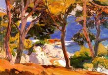 Beach art scenes Handpainted oil paintings Coast of Santa Cristina Lloret de Mar Joaquin Sorolla y Bastida High quality