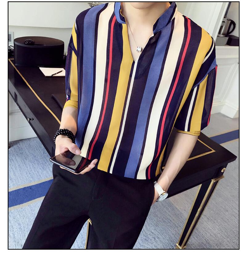 a22a2241f8c 2019 Summer Striped Shirt Men Fashion Brand Loose Stand Collar ...