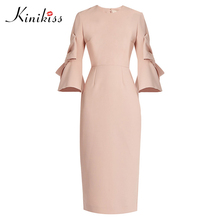 Buy Kinikiss women autumn bodycon dress 2017 women sexy spring pink flare sleeve zipper party dress elegant fashion office dress for $15.12 in AliExpress store
