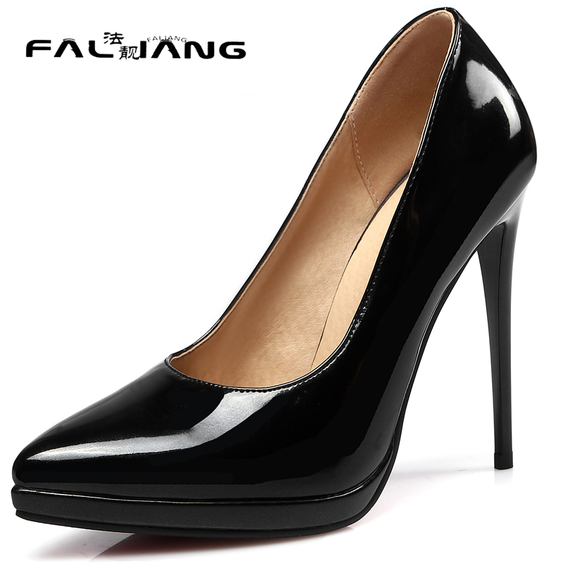 New arrival Spring Autumn plus size 11 12 13 14 Fashion Elegant Shallow Platform 1cm Thin Heels Super High Heels Single shoes<br>