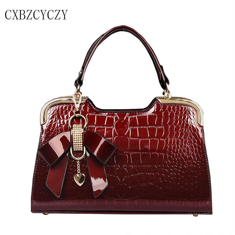 Designer Fashion Women Brand Bags Patent Leather Female Bow Tie Women High Quality Handbag Women Messenger Bags Bolsa Feminina<br>