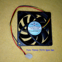 Wholesale Bearing Style 12V 7CM 70MM 7015 3Pin Cooling Cooler Fan(China)