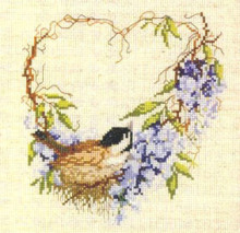 Fishxx Cross Stitch B101 flowers [Bird garland] love birds imported flax
