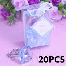 20PCS Bulk Crystal Ring Key Chain Kids Birthday Baby Shower Souvenirs Wedding Bomboniere Giveaway Favors and Gifts For Guest