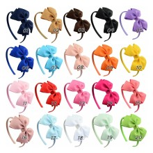 Girls Fashion 4 inch Headband Ribbon 20 Colors Covered Hairband With Boutique Grosgrain Ribbon Bow Hairbands  674
