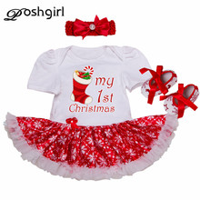 Happy Christmas Gift Baby Girl Romper Dress Newborn Baby Outfit Toddler Lace Tutu Headband Set Vestido Bebe Menina Infant Cloth(China)