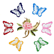 FUNIQUE 5PCs Iron On Patches For Clothing Sequins Butterfly Flower Embroidered Appliques Sew On Apparel Stickers DIY Badges