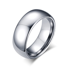 Free Engraving 8mm Tungsten Steel Silver Plain Wedding Band Simple Promise Rings(China)