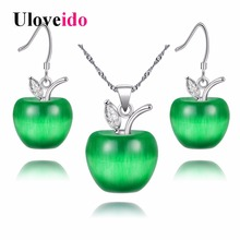 Uloveido 10% Off Earrings Necklace Sets Fashion Zirconia Kid Jewelry Set Girl Collane Bridal Sets Boucle D'oreille Femme YL007(China)