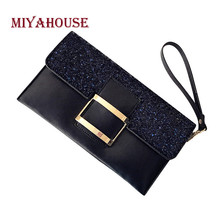 Miyahouse New Arrival Female Clutch Bags Sequins Envelope Bag Women PU Leather Hasp Evening Bags Shining Handbags