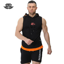 bodyengineers 2017 men Summer new fashion trend Sleeveless hoodie Men's Autumn gyms fitness casual cotton waistcoat vest(China)
