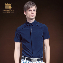 FANZHUAN Brand Men's Summer Shirt Fashion Embroidery Western style Simple Solid Color Short Sleeves Shirt Men Shirts(China)
