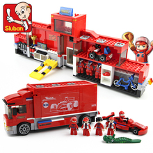SLUBAN 0375 557pcs 2in1 Technic F1 Formula Racing Car Transport Truck building block Set Kids DIY Brick Toys for Children