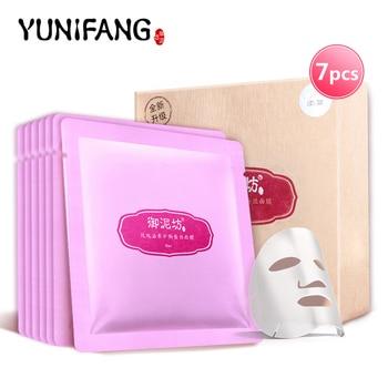Уход за кожей лица YUNIFANG роуз маска для лица минеральная шелковая маска увлажняющая увлажняющий осветляющий отбеливание 30 мл * 7 шт.
