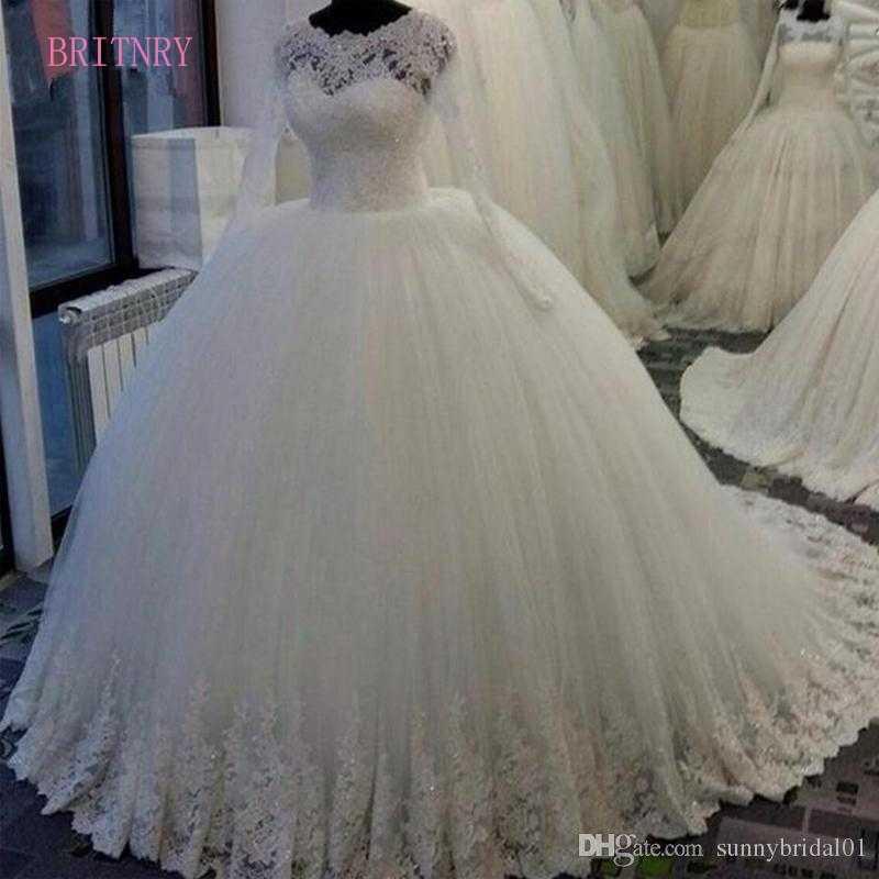 Vestido De Noiva Long Sleeve Princess Wedding Dresses 2018 Appliques Beaded Lace  Ball Gown Bridal Gown 60bb9890bab8