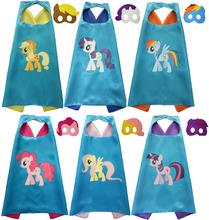 2017 Hot Selling My Little Pony Satin Fabric Cape Set For Birthday Party Costume Christmas Gifts Cosplay Costume For Kids