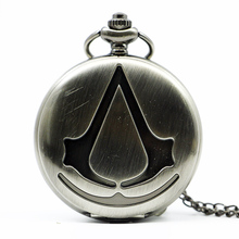 New Fashion Vintage Assassin's Creed Sci-Fi Movie Quartz Pocket Watch Analog Pendant Necklace Mens Womens Watches Chain Gift