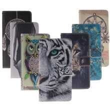 PU Leather Case Alcatel One Touch Pop C7 7040D 7041D OT-7040E Tiger Owl Lion Stand Wallet Flip Card Holder Back Cell phone Case