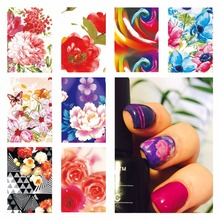 YZWLE 1 Sheet Optional Gothic Blooming Flower Nail Art Water Decals Transfer Sticker Decorations Tool For Nails Art
