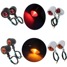 4 Styles Chrome/Black Universal Motorcycle Lights Motocross Bullet Blinker Turn Signal Indicator Amber/Red Light Cafe Racer Bike