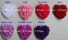 "Free USA ePacket/CPAP 30y/480pcs 7 colors 2"" Chiffon Rosette Hearts,Shabby Chic Chiffon Heart Appliques,Hair Accessories"