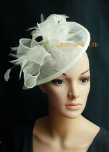 2017 NEW 31 colours Ivory cream sinamay fascinator Feather hat for Kentucky derby,wedding,church .FREE SHIPPING.