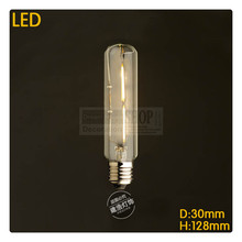 Sample order T10 2W Dimmable 2200K LED tube Filament bulb E27/E26 220V AC LED Vintage Edison Decorate Lighting(China)