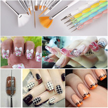 New 2sets Set Nail Tools Nail Art Brush Tools Set Acrylic UV Gel Builder Painting Drawing Brushes Pens Cuticle Pusher Tools