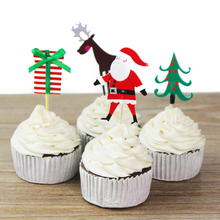 24pcs 4 Designs Of Christmas Cupcake Toppers Picks Music Theme Party Decorations Baby Shower Kids Birthday Party Favors