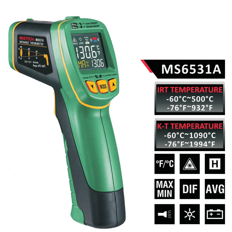 1pcs MASTECH MS6531A Handheld Non-contact Infrared Thermometer Point Temperature Gun with K-type Temperature Measurement<br><br>Aliexpress