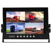 "4 Channel 4PIN DC12V-24V 9"" 4 Split Quad LCD Screen Display Color Rear View Car Monitor For Car Truck Bus Van Reversing Camera(China)"