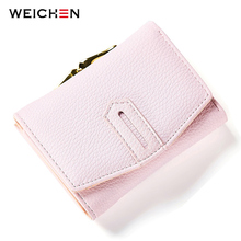 WEICHEN Short Women Wallets Fashion Solid Leather Purse Card Holder Coins Female Hasp Small Clutch Wallet Fresh Ladies Bag(China)