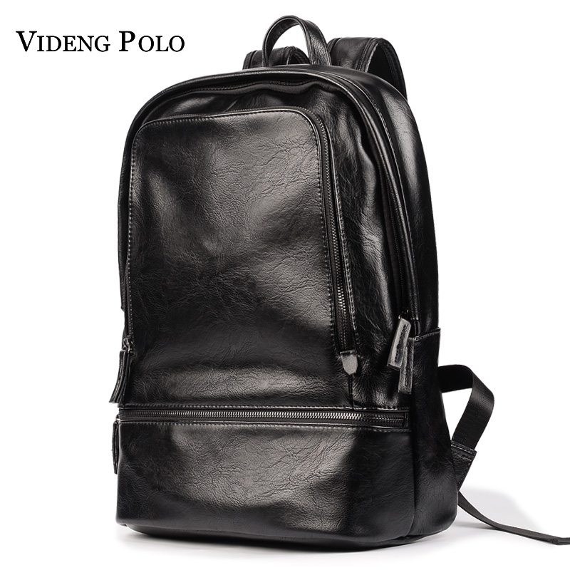 VIDENG POLO Western College Style Bags Large Quality Leather Backpacks Double Shoulder Bags Casual School Bag Travel Rucksack<br>
