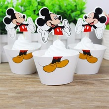 Mickey Mouse Party Decoration Cartoon Cupcake 12 pcs Toppers +12 pcs Wrappers Cupcake Accessory For Kids Birthday Party Favors
