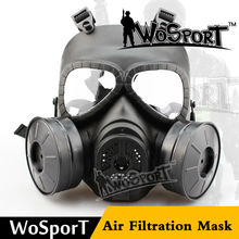 WoSporT Tactical Full Face Masks Skull V4 Cosplay M04 Military CS Wargame Airsoft Two Fan Safety Gas Mask Paintball Accessories(China)