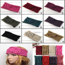 NEW Wholesale Double-deck Flower Women Crochet Headband Fashion Curly Rim Knitted Headwraps girl hair accessories 30 pcs/ lot(China)