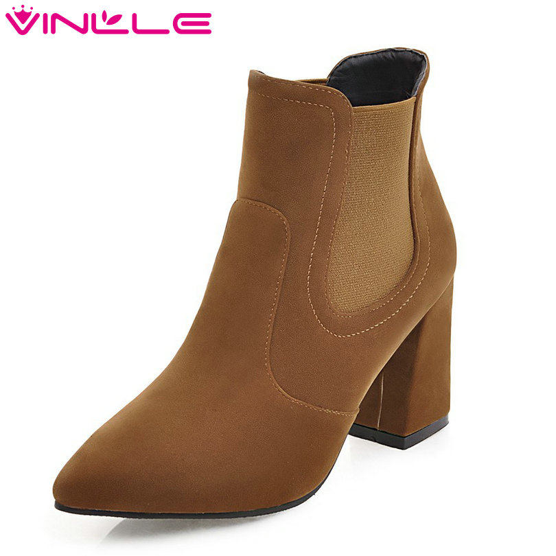 VINLLE 2018 Women Shoes Ankle Boots Hoof High Heel Winter/Autumn Elegant Beige Pointed Toe Ladies Motorcycle Shoes Size 34-43<br>