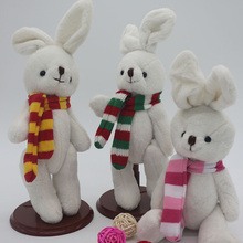 3 pcs/lot High quality Plush toys christmas scarf rabbit cheap christmas ornament lovers/christmas gifts birthday gift