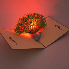 3D Peacock Greeting Card With Envelope LED Birthday Music Pop Up Birthday Cards Postcard Paper Craft Handmade Gift Souvenir