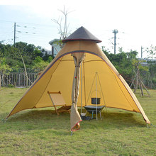 On sale Luxury Indian yurt 2 layer driving hiking fishing beach party faimly hexagonal tower base cycling outdoor camping tent(China)