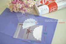 200pcs/Lot 7*7cm Cookie Packaging clear lace bow Self Adhesive Plastic Bags for Biscuit Snack food Cupcake Baking Package(China)