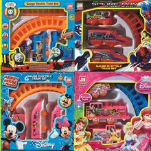 1 set Thomas Track Train Thomas And Friends Spiderman Snow White Mickey Minnie Electric Train Color Box Packing Kid Gift Toy