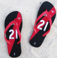 Essendon Bombers Slipper AFL WATSON FLETCHER HEPPELL any name Beach shoes Australia football gift Flip flops fans(China)
